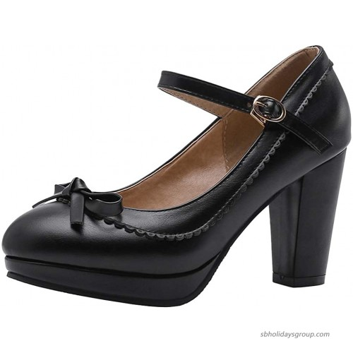Caradise Womens Sweet Lolita Shoes Chunky Platform Mary Janes Pumps with Bow Pumps