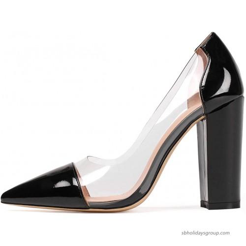 Eldof Women's 100mm Pointed Toe Clear Pumps Block Heels Pumps Party Wedding Dress Shoes Pumps