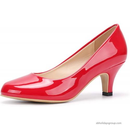 OCHENTA Women's Low Kitten Heel Round Toe Slip On Comfort Dress Pump Bride Wedding Shoes Patent Leather Red 10 Pumps