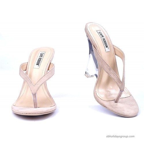 Cape Robbin Spectacular Clear Chunky Block Wedge Heels for Women Transparent Open Toe Shoes Heels for Women Heeled Sandals