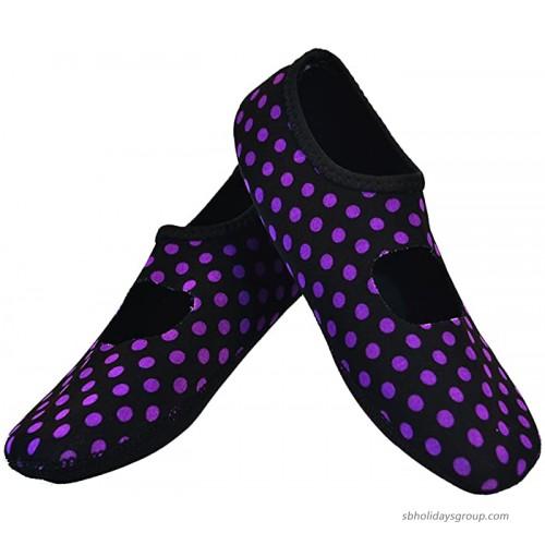 NuFoot Mary Janes Women's Shoes Foldable Flexible Flats Slipper Socks Travel Slippers Exercise Shoes Dance Shoes Yoga Socks House Shoes Indoor Slippers Black Purple Polka Dot X-Large