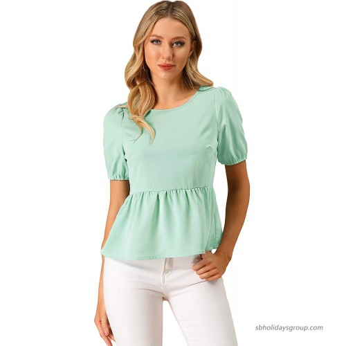 Allegra K Women's Babydoll Shirts Short Sleeve Solid Chiffon Peplum Top at  Women's Clothing store