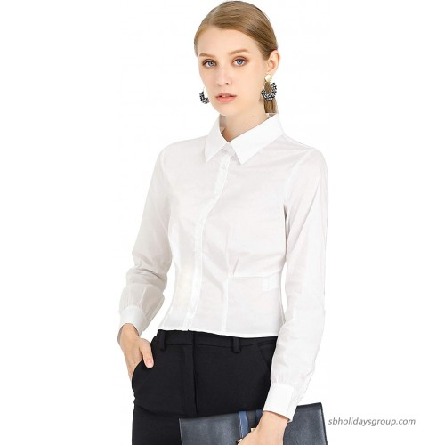 Allegra K Women's Business Formal Office Long Sleeve Button Up Shirt at  Women's Clothing store