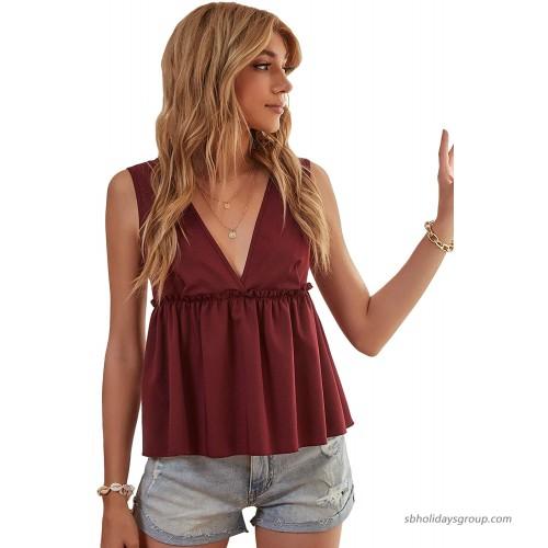 Milumia Women's Summer Deep V Neck Sleeveless Peplum Top Backless Ruffle Hem Blouse at  Women's Clothing store