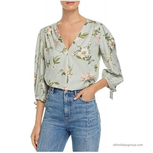 Rebecca Taylor Women's Lita Floral Tie Sleeve Silk Blend Blouse Mint 4 at  Women's Clothing store