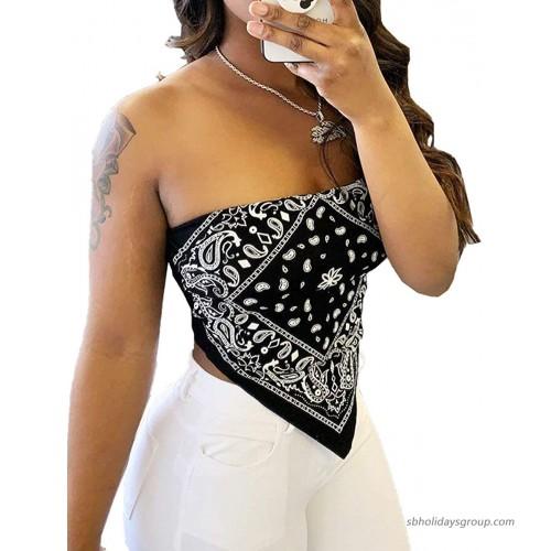 SEMATOMALA Women's Bandana Paisley Tube Top Off Shoulder Strapless Sleeveless Tie Dye Crop Top Shirt Blouse