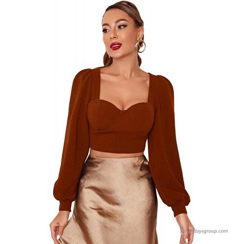 SheIn Women's Elegant Lantern Long Sleeve Sweetheart Neck Solid Crop Blouse Top