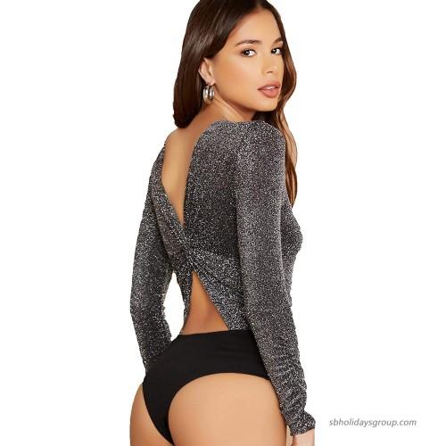Floerns Women's Glitter Cutout Twist Back Long Sleeve Skinny Bodysuit