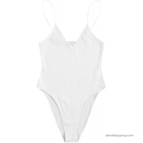 SheIn Women's Plus Sleeveless V Neck Leotard Top Casual Rib-Knit Cami Bodysuit