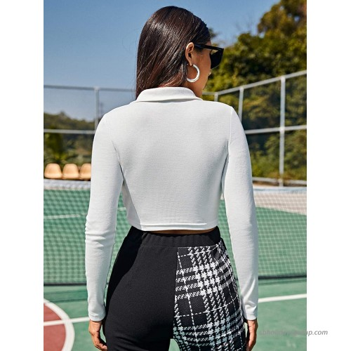 SheIn Women's Long Sleeve Polo Neck Crop Tee Top Button Front Rib Knit Solid T Shirt at Women's Clothing store