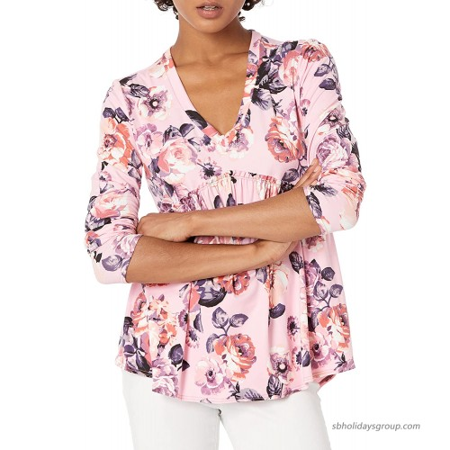 Star Vixen Women's Plus Size Long Sleeve Babydoll Top with V Neck Mauve Floral 4X at  Women's Clothing store