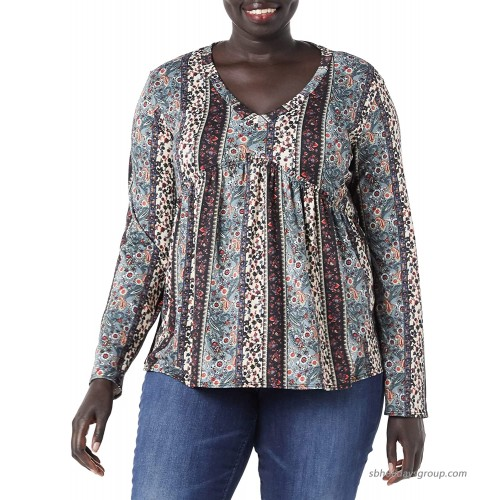 Star Vixen Women's Plus Size Long Sleeve Babydoll Top with V Neck Sage Black Wallpaper 1X at  Women's Clothing store