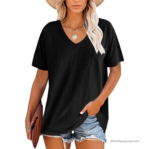 Womens Plus Size V Neck T-Shirts Short Sleeve Casual Loose Workout Tunic Tops Summer Basic Tees with Pocket Black at  Women's Clothing store