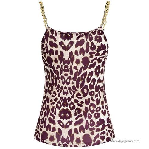 DYMADE Women's Leopard Print Tank Tops Summer Spaghetti Strap Crew Neck Sleeveless Shirt Blouse