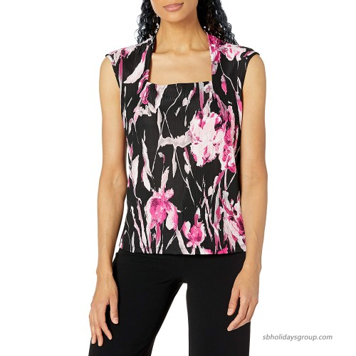 Kasper Women's Handpainted Floral Print Square Neck Cami with Cap Sleeves at  Women's Clothing store