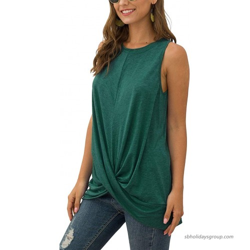 Qflmy Women Casual Shirt Sleeveless Round Neck Knot Pleated Tops Tees at Women's Clothing store
