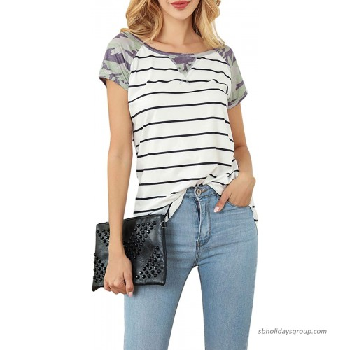 Sanifer Women's Casual Short Sleeve Camo Striped T Shirts Leopard Print Summer Tunics Tops Blouses at  Women's Clothing store