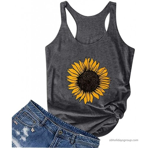 Tank Tops for Women Plus Size Loose Fit Sunflower Print Crew Neck Funny Cute Graphic T-Shirts Sleeveless Tee Tops at  Women's Clothing store