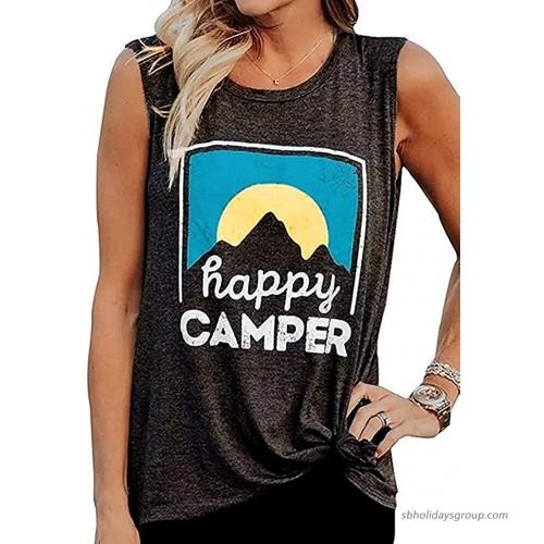 Women HappyCamper Tank Top Sunrise Casual Sleeveless T-Shirt Blouse Vest Dark Grey S