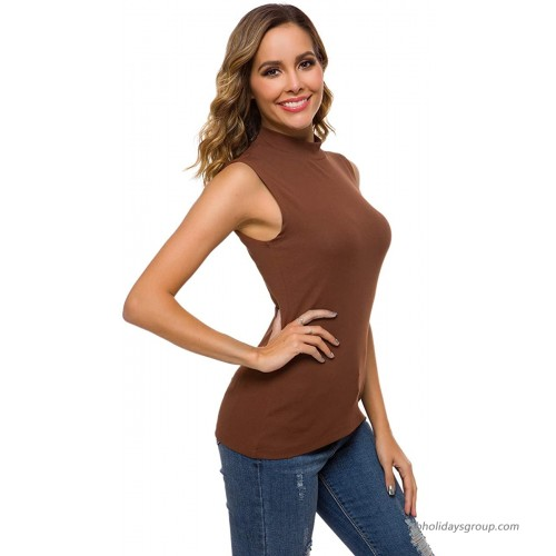 Womens Long Sleeve Turtleneck High Neck Fitted Fall Layer Tee Top at Women's Clothing store