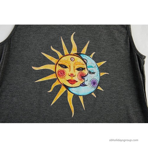 Womens Summer Workout Tank Tops Graphic Tees Sleeveless Sun and Moon Casual Loose T-Shirts Crewneck Yoga Tunic Tops Grey at Women's Clothing store