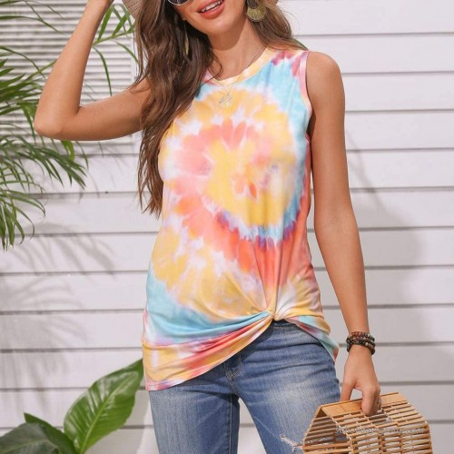 Y&J Women Loose Allover Tie Dye Print Sleeveless T-Shirt Crew Neck Twist Knot Front Tank Tops Tunic at Women's Clothing store