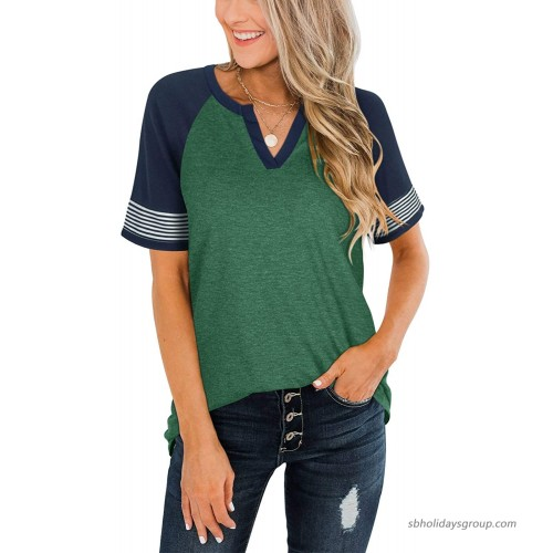 Adreamly Womens Casual Color Block Tops Henley V Neck T Shirt Raglan Short Sleeve Striped Shirt Loose Blouses at  Women's Clothing store