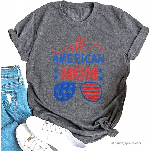 American Flag Shirt Women All American Mom 4th of July T Shirt US Flag Graphic Patriotic Tee Tops at  Women's Clothing store