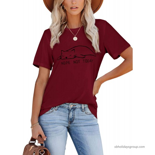 Geifa Graphic Tees for Women Funny Summer Tops Loose Fit T Shirts at Women's Clothing store