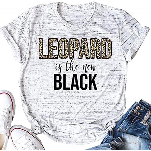 kfulemai Women's Leopard is The New Black T Shirt Cute Short Sleeve Letter Graphic Tees Tops at  Women's Clothing store