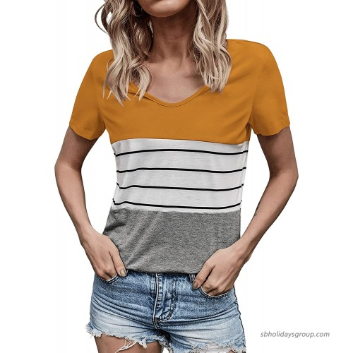 Milumia Women's Striped Colorblock V Neck Short Sleeve Curved Hem Casual Tee Shirt Top at  Women's Clothing store