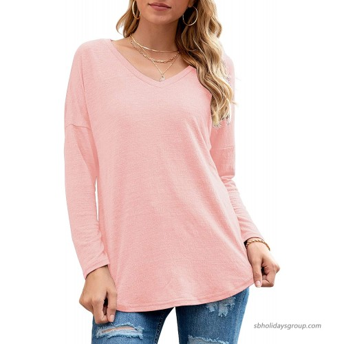 Neineiwu Womens Long Sleeve V Neck Tunic Tops Loose Casual Blouse Shirts at  Women's Clothing store
