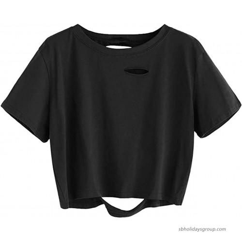 Nicetage Women's Short Sleeve Tee Tie Dye Letter Print Crop Tops Distressed Crop T Shirt at  Women's Clothing store