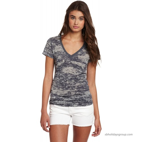 Soffe Women's Bi-Color Burn Out v-Neck t-Shirt at  Women's Clothing store