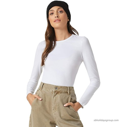 Verdusa Women's Basic Casual Slim Fitted Round Neck Long Sleeve Solid Tee Top at  Women's Clothing store