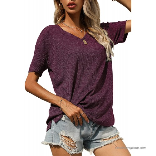 Womens Thsirt V-Neck Casual Tops Short Sleeve Fashion Tee Shirts Loose Fitting Tunic Purple X-Large at  Women's Clothing store