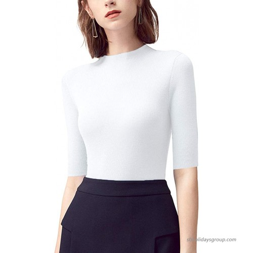 ABEAUTY Sleeveless High Neck Knit Pullover Sweater Shirt Plain Fitted Stretchy Tank Tops White XL at  Women's Clothing store