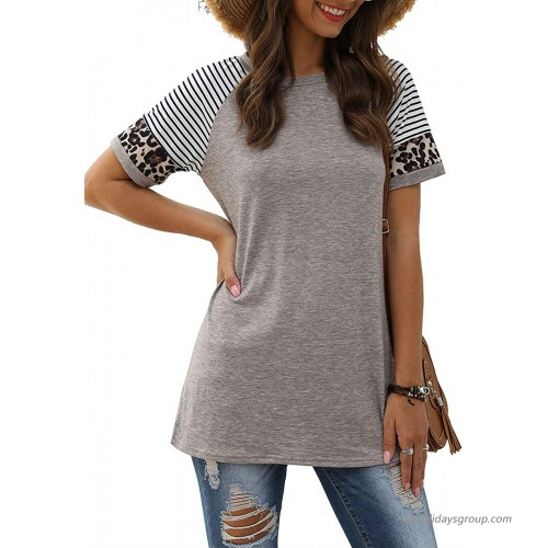 Cnokzol Women's Short Sleeve Leopard Print Striped T Shirts Summer Colorblock Crewneck Tunic Tops at  Women's Clothing store