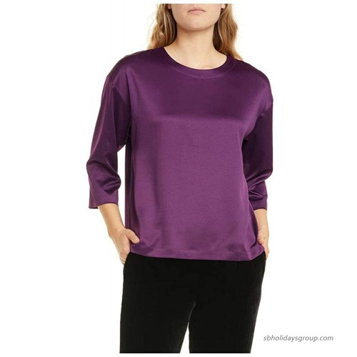 Eileen Fisher Raisin Recycled Polyester Satin Ballet Neck Box Top