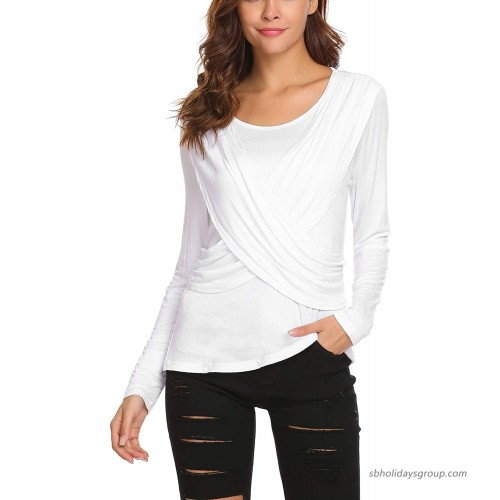 ELESOL Women's Long Sleeve Cross-Front Ruched Fitted Tee Shirt White M