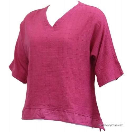 Ezze Wear Women's Dotty Gauze Abby Cotton Top Pink 3X Pink at  Women's Clothing store