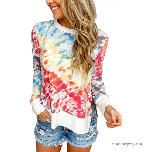 Kaei&Shi Tie Dye Shirt Women High Low Tops for Women Side Slit Pullover Loose Fitting Tops for Women at  Women's Clothing store