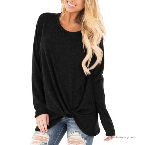 Meshieyla Women's Long Sleeve Casual Blouse Shirts Knot Tie Knot Front Loose Tunic O Neck Tops Black XL