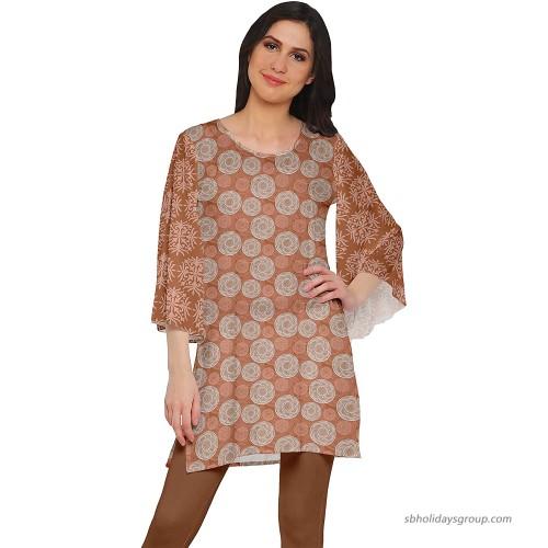 Moomaya Poly Crepe Short Kurtis for Women Printed Kimono Sleeve Dress Indian Top at  Women's Clothing store