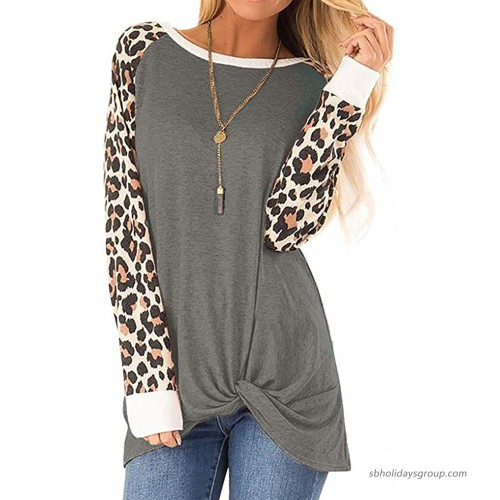OURS Women's Casual T Shirts Leopard Long Sleeve Twist Knot Tunics Top Blouse Loose Shirts at  Women's Clothing store