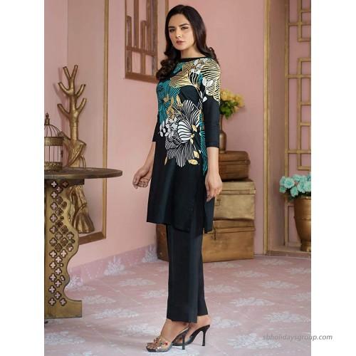 Pakistan Indian - Women Girls Printed Lawn Kurti Black at Women's Clothing store