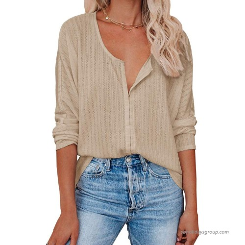 Womens Button Down Tunic Tops Oversized Scoop Neck Long Sleeve Knit Henley Shirts Khaki at  Women's Clothing store
