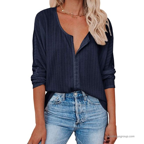 Womens Button Down Tunic Tops Oversized Scoop Neck Long Sleeve Knit Henley Shirts Navy at  Women's Clothing store