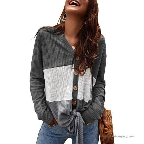 Womens Waffle Knit Tunic Blouse Tie Knot Henley Tops Loose Fitting Color Block Long Sleeve Shirts at  Women's Clothing store